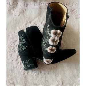 Franco Sarto Embroidered Floral Booties